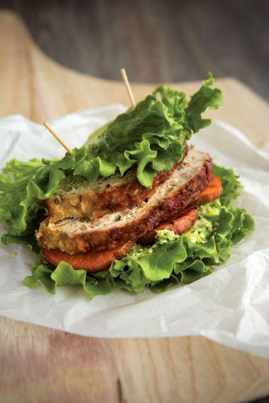 Turkey-Lentil Meatloaf Club with Broccoli Pesto