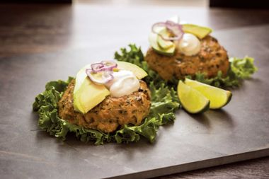 Salmon-Avocado Burgers with Wasabi Yogurt Sauce
