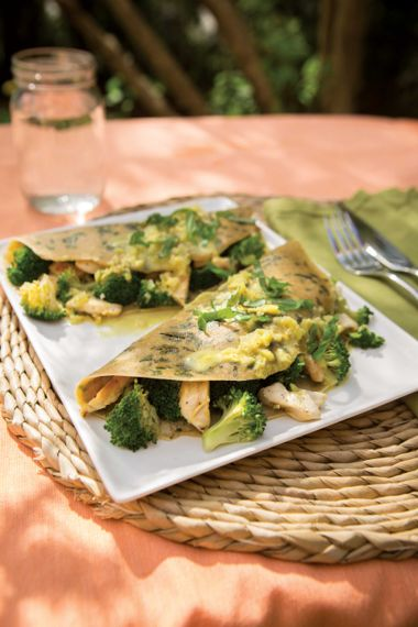 Lemony Basil Chicken Crepes with Curry Sauce
