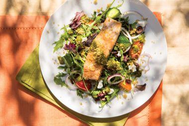 Quinoa Salmon Panzanella Salad