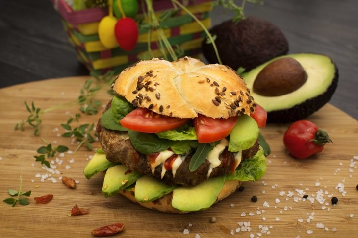 Fresh burger with avocado