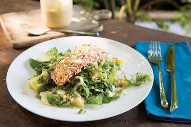 Basmati Salad Coconut Crusted Salmon