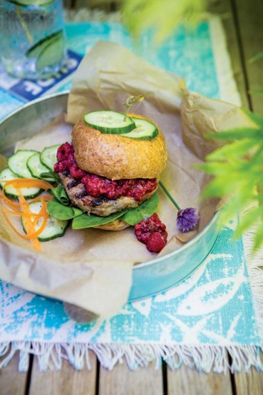 Turkey Burgers with Raspberry-Chipotle Sauce