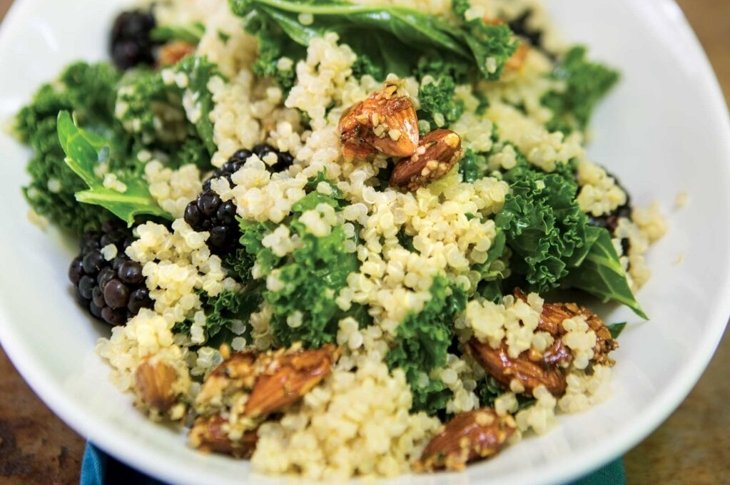 Protein-Packed Salads: Kale, Quinoa, and Blackberry Salad with Candied Almonds