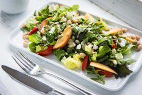 Bean Peach Salad with Almond Dressing
