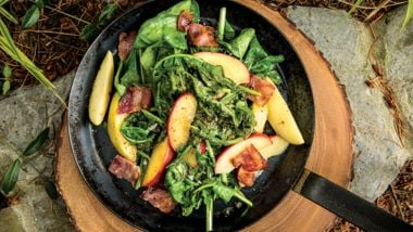 Dandelion Greens with Apples, Bacon, and Grainy Mustard