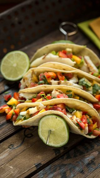 Fish Tacos with Pickled Peach Salsa
