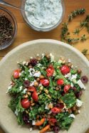 Crispy Greek Chickpea Salad with Tzatziki Drizzle