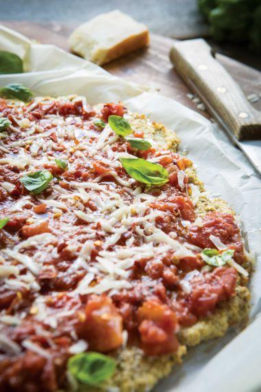 Gluten-Free Rosemary Cauliflower Crust Pizzas with Fresh Tomato Sauce