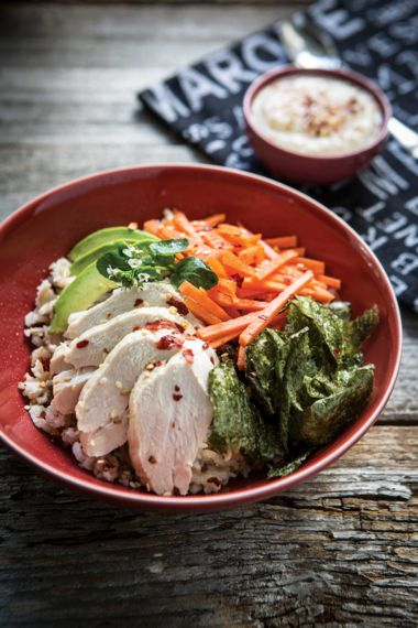 Roasted Chicken Sushi Bowls with Carrots and Miso Gravy