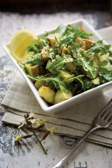 Roasted Garlic Basil Pesto Potatoes with Arugula