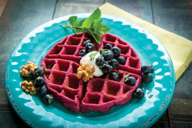 Beet & Blueberry Waffles