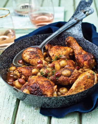 Roasted Chicken with Pickled Grapes