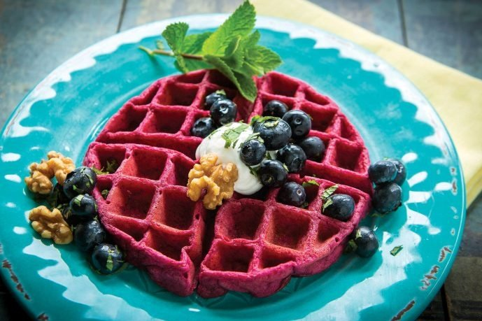 Beet Blueberry Waffles