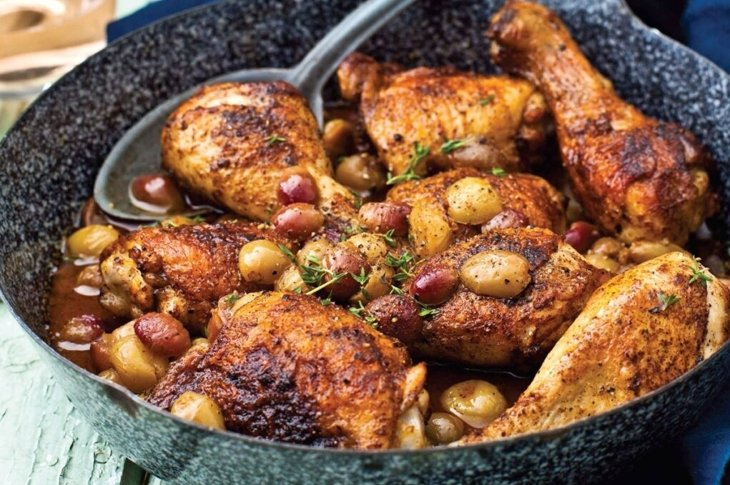 Roasted-Chicken-with-Pickled-Grapes