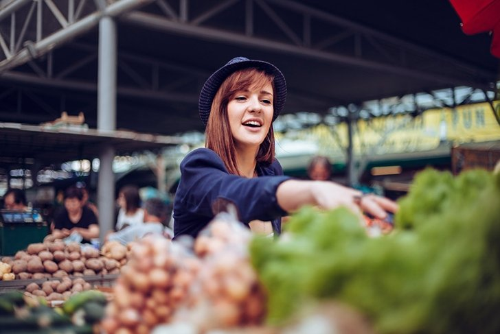 young woman shopping healthy