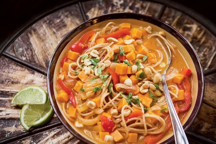 Healthy Soup Recipes-Spicy Thai Coconut Soup with Kamut Noodles, Sweet Potato, and Lime