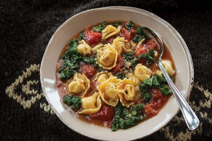 Healthy Soup Recipes-Whole Grain Tortellini and Tomato Bean Soup