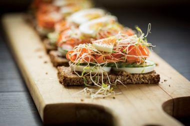 """Open-Faced Rye Sandwich with Butternut """"Gravlax"""""""