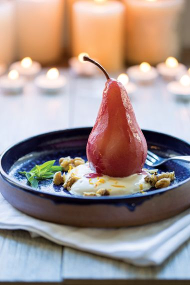Mulled Wine Poached Pears with Orange Blossom Yogurt and Walnuts