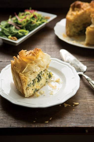 Flaky Phyllo Tart with Artichokes and Spinach
