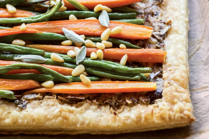 Puff Pastry with Glazed Carrots, Mushrooms, and Pine Nuts