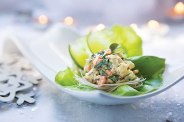 Basil Shrimp and Glass Noodle Lettuce Cups