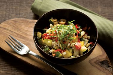 Warm Roasted Vegetables with Barley and Tempeh