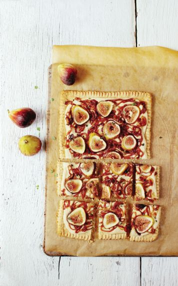 Fig and Caramelized Onion Tart with Lemon Cashew Cheese