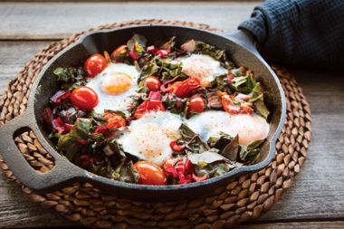 Roasted Smoky Tomatoes with Swiss Chard and Eggs