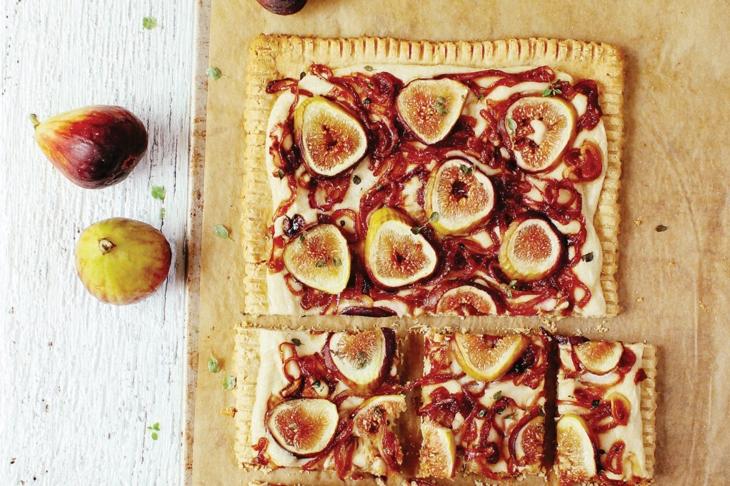 Vegan comfort food-Fig & Caramelized Onion Tart