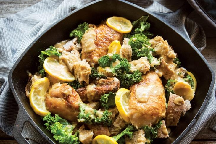 Roasted Garlic, Lemon, Chicken, and Kale Skillet Caesar