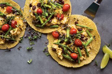 Egg, Asparagus, and Microgreen Tacos