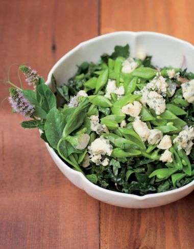 Minted Kale with Peas and Blue Cheese