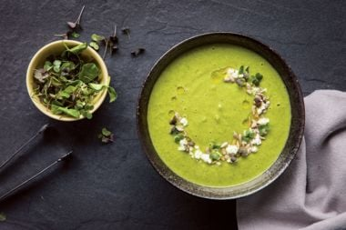 Roasted Broccoli Microgreen Soup