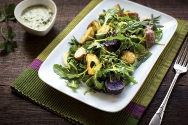 Roasted New Potatoes and Arugula Salad