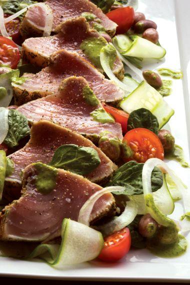 Seared Tuna Loin on Garden-Fresh Salad with Borlotti Beans