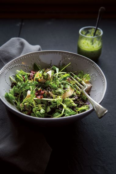 Trout Lentil Salad with Microgreen Pesto Dressing