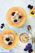 Coconut Cream Melon Halves with Almond Dukkah and Berries