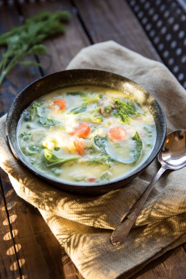 Lemony Quinoa Soup with Spinach and Herbs