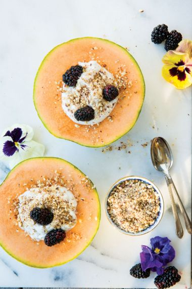 Coconut Cream Melon Halves with Hazelnut Dukkah and Berries
