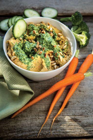 Carrot Tahini Hummus with Carrot Top Pesto