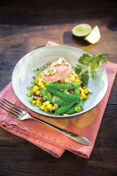 Savoury Poached Salmon and Curried Couscous