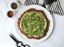 Zucchini Pizza Crust With Lemony Pea Pesto