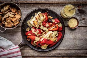 Halloumi and Fire Roasted Pepper Salad