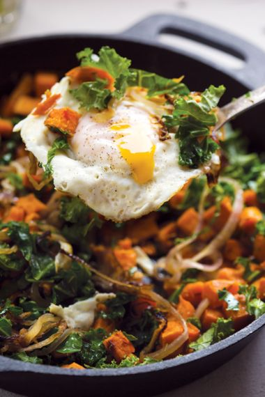 Sweet Potato, Red Onion, and Kale Hash