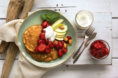 Grain-Free 4-Coconut Pancakes with Strawberry Star Anise Compote