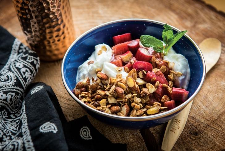 Granola Yogurt Bowl with Stewed Rhubarb