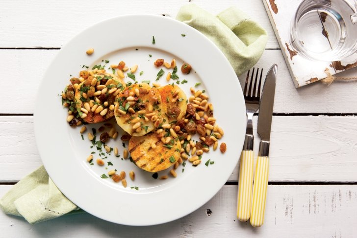 Grilled Celeriac Steaks with Pine Nut and Currant Relish