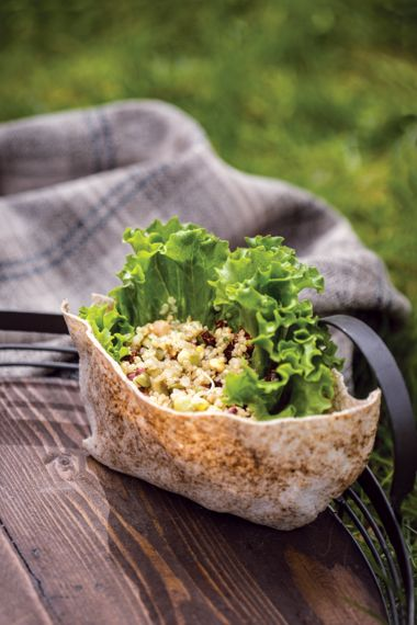 Sprouted Lentil and Quinoa Salad with Pocket Bread